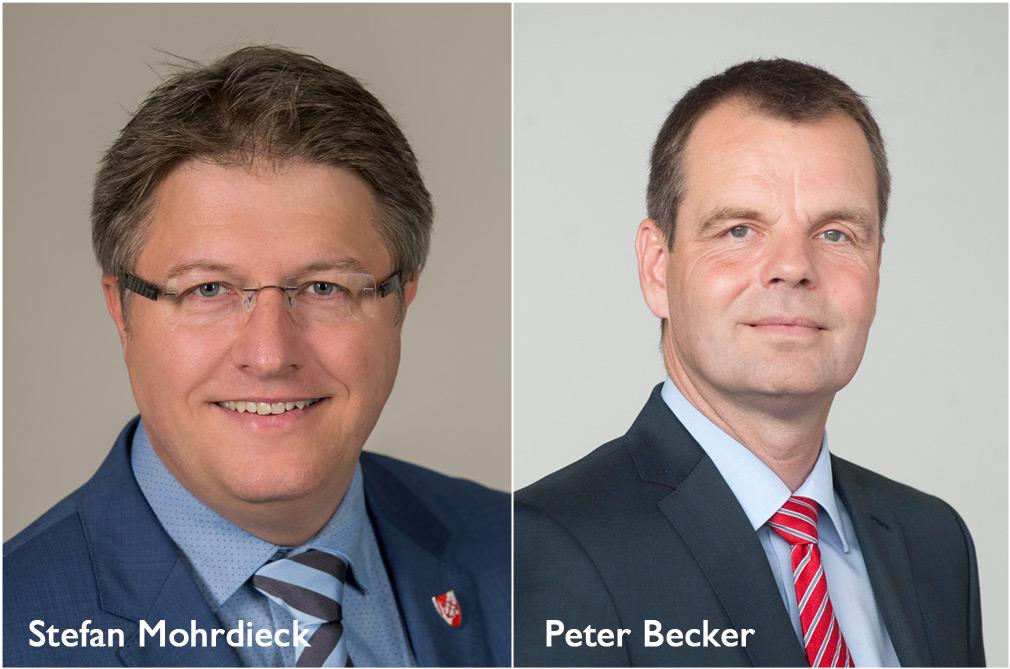 Wollen Landrat in Dithmarschen werden: Stefan Mohrdieck und Peter Becker stellen zur Wahl