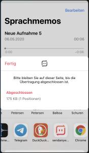 Send Anywhere iPhone abgeschlossen