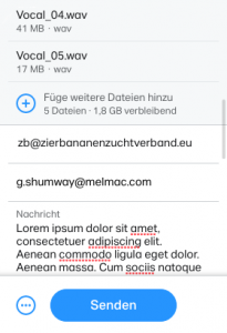 WeTransfer 1 - Mailadressen eintragen